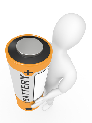 The person with a battery in hands