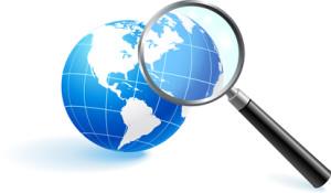 Globe under magnifying glass