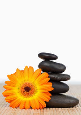 An orange sunflower and a black stones stack